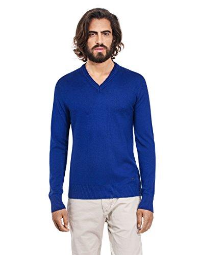 VB-Maglione da uomo con scollo a V, Slim Blue Medium