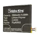 Akku-King Akku ersetzt Alcatel CAC2580010C2, TLp025G2 - Li-Polymer 2500mAh - für Alcatel One Touch Pixi 3 8' 3G, One Touch Pixi 4 6.0, One Touch Pixi 4 6.0 LTE, OT- 9001AOT- 9001X, OT-8050D