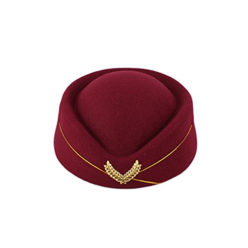 BESTOYARD Flugbegleiterin Mütze Wollfilz Stewardess Hut Damen Pillbox Mützen Stewardess Kostüm Cosplay Cap Größe M - Stewardess Kostüm Rot