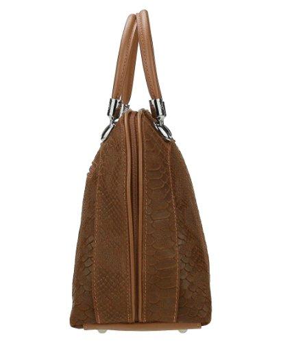Made in Italy echt Leder Vera Pelle Schlangen-Prägung Shopper Handtasche Umhängetasche Tasche Schultertasche daisy34 30x27x14 cm (BxHxT) (Cognac) Cognac