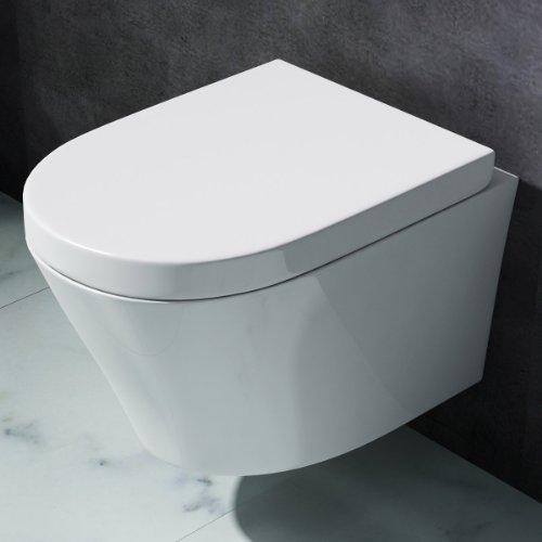 Design-Toilette Aachen108 aus Keramik mit SilentClose-Absenkautomatik   Wand-WC / Hänge-WC