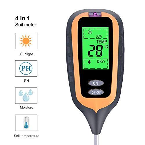 KINDOKP Bodentester Digital 4 in1 Test Bodenmessgerät Feuchtigkeitsmessgerät PH-Wert Temperatur Luftfeuchtigkeit,für Gärten, Bauernhöfe, Rasenflächen,Innenbereich/Außenbereich,001