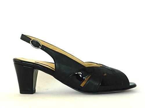 Menstor Femme-Sandale talon moyen plantaire-Peau Claire anatomique Noir - noir