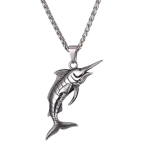 Kostüm Schwertfisch - DADATU Halskette Für Männer Edelstahl-schwertfisch Pendant & Kette Necklace Rock Sea Animal Punk Kpop Halsketten Männer Schmuck