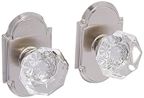 Arched Rosette Set With Old Town Crystal Knobs Double Dummy In Satin Nickel. Old Door Knobs. by Emtek