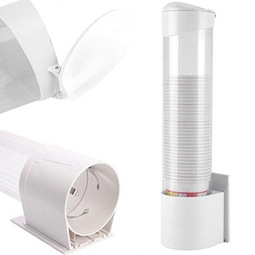 DOBO® Dispensador de Pared Puerta Vasos y Tazas de plástico con fijación a Trineo Sobre Placa Adhesivo o con Tornillos