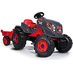 Smoby - 710200 - Tracteur Stronger XXL - + Remorque - Siège Ajustable - Rouge