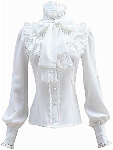 Damen Plissee Rock Rüsche Chiffon Bluse Retro Viktorianisch Lolita Bluse (Blanc, S) -