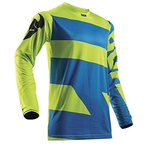 THOR PULSE LEVEL YOUTH Motocross Kinder Jersey 2018 - electric blau lime -