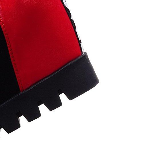 VogueZone009 Donna Tirare Tacco Alto Tessuto Lucido Puro Bassa Altezza Stivali Rosso