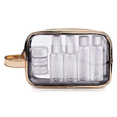Kosmetiktasche transparent mit 7 Behältern, Kulturtasche für Flüssigkeiten, Reiseset Handgepäck für Flugzeug Reise Flaschen Handgepäck Beutel