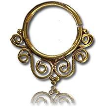 Chic-net anneaux dans le nez piercing septum spirale orné en laiton 1-6 mm anneau d'or antique