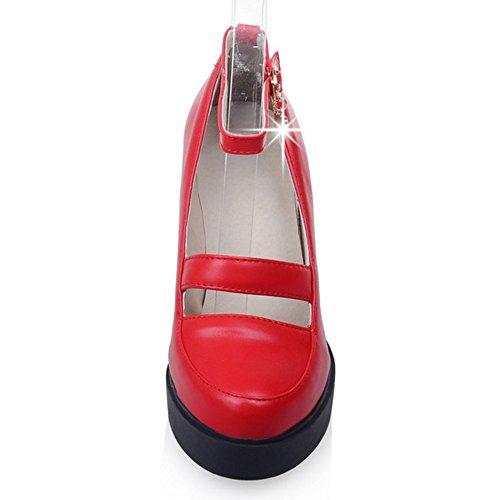 COOLCEPT Femmes Mode Cheville Court Chaussures Bout Ferme Bloc Chaussures Rouge