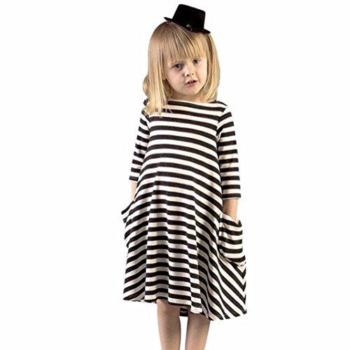Culater® Neonate vestito nero a strisce bianche Famiglia casuale Dress (3 Pezzi Bambino Outfit)