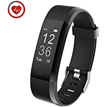 Fitness Tracker Con monitor de ritmo cardíaco,Vigorun YG3 Plus Rastreador de actividad Bluetooth Point Touch Control remoto de la cámara Modo de movimiento múltiple Compatible con Android e iOS