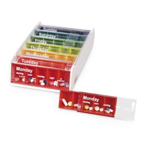 Automatische Medikamenten-dispenser (Anabox Tablettenbox, 7 Tage, regenbogenfarben)