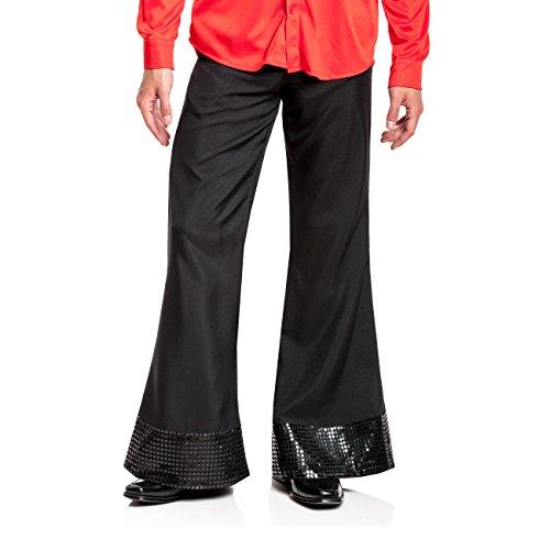 Kostümplanet® Disco Hose schwarz Herren Disko Kostüm 70er Jahre schwarze Schlaghose mit Pailletten Größe 52/54 (70er Jahre Disco Kostüme Männer)
