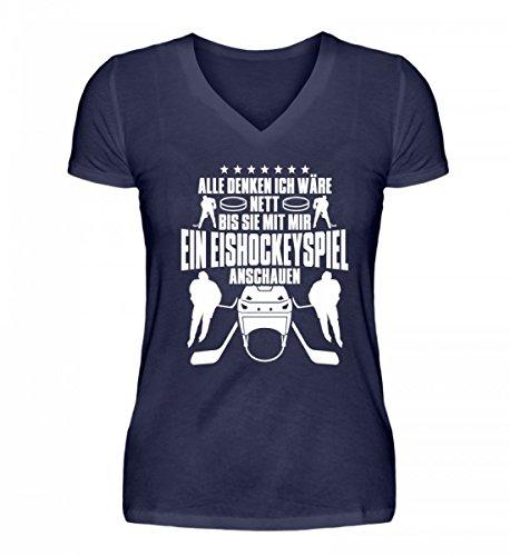Shirtee Hochwertiges V-Neck Damenshirt - Alle Denken Ich Wäre Nett, bis Sie mit Mir ein Eishockeyspiel ansehen. Eishockey Eishockeyfan Mann Frau Geschenk