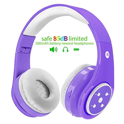 Cuffie wireless Bluetooth per bambini, volume limitato di 85 dB, fino a 6-8 ore di riproduzione, suono stereo, slot per schede SD,...