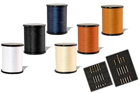 * Sechs Spulen à 100 m Jeansfaden + zehn Nähnadeln mit Goldöhr | in verschiedenen Farben aus Nylon 210D/2