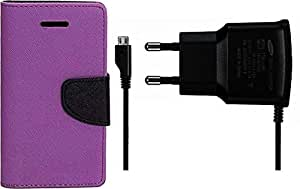 Generic Flip Cover Combo with Charger For Asus Zenfone 5 Purple