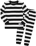 Kleinkind Jungen Langarm zweiteilig Schlafanzug Pajama 2pcs Set Color Magic Black White M