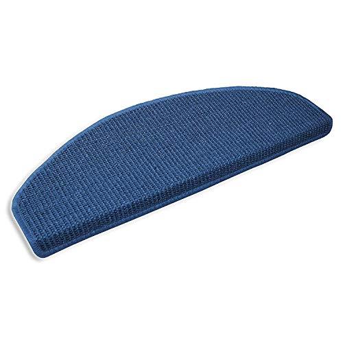 Sisal - Stufenmatte in 2 Größen, gewebt in natürlicher, schöner Sisalstruktur,eingepresster Treppenwinkel für sicheren Halt, wohnlichen Farben und rutschsicher für Mensch und Tier (ca. 18 x 56 cm, blau)