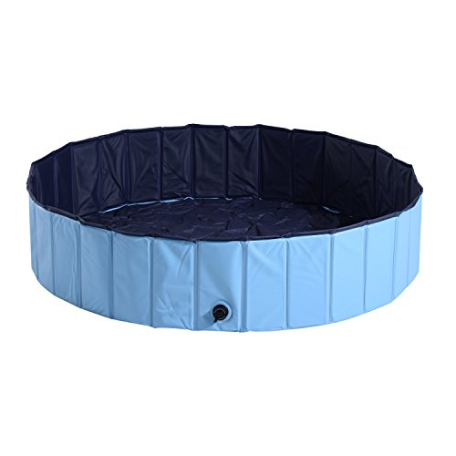 PawHut Bañera para Perros Gatos Plegable Piscina para Mascotas Natación Baño Φ140x30cm Color Azul