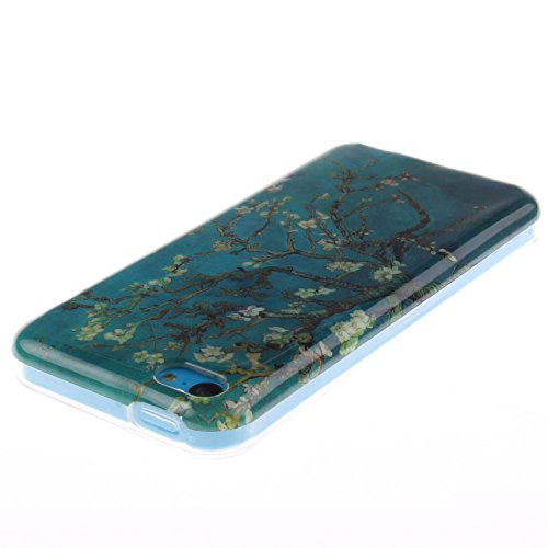 iPhone 5C Hülle,iPhone 5C Case [Scratch-Resistant] , Cozy Hut Apple iPhone 5C Ultra Slim Perfect Fit Painted Designs Design Muster Malerei TPU Clear Transparent Protective back Hülle Hüllen Beschützer Mandelbaum