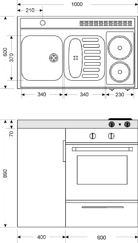 kompaktk che singlek che mini k che b rok che kleink che mit backofen b100 cm m. Black Bedroom Furniture Sets. Home Design Ideas