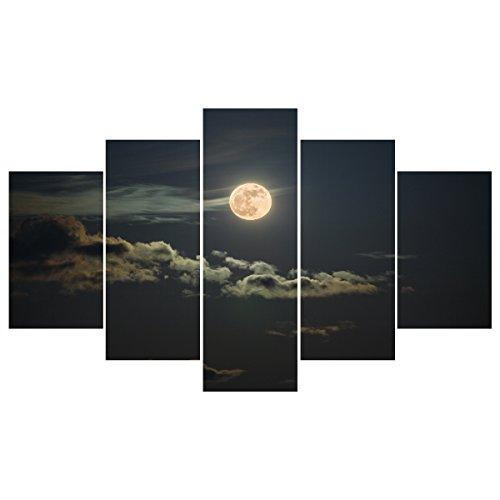 La lluvia Reina la luna abstracto moderno pintura al óleo sobre lienzo, grandes cuadros en lienzo paisaje, cartera hecha a mano del arte de la pared para la decoración (sin marco), 5 piezas/set 2 * 30 * 50 cm, 30 * 70 cm * 2, 1 * 30 * 90 cm