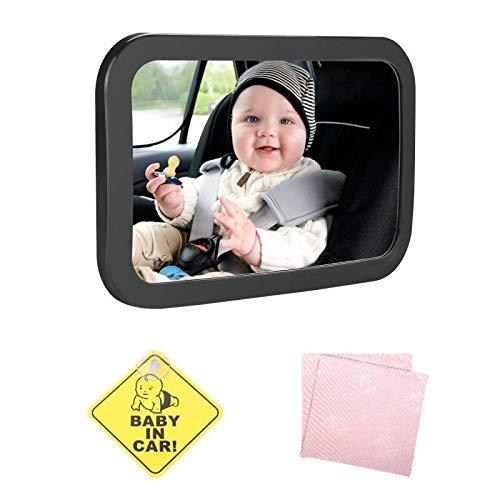 """Spiegel Auto Baby, 100% Bruchsicher 360° Schwenkbarer Auto-Rückspiegel mit """"BABY IN CAR"""" Schild & Reinigungstuch für Kinder in Kindersitz, Rücksitzspiegel Baby 31x19cm"""