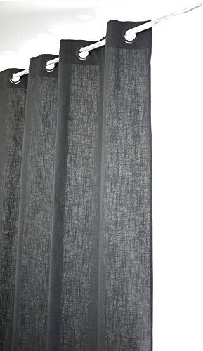 Linder 0517/92/375FR Rideau Toile Aspect Lin Gris Anthracite Oeillets 135 x 280 cm