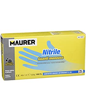 Maurer 15030636 Guante Desechable Nitrilo Talla 9 XL Caja 100 Unidades