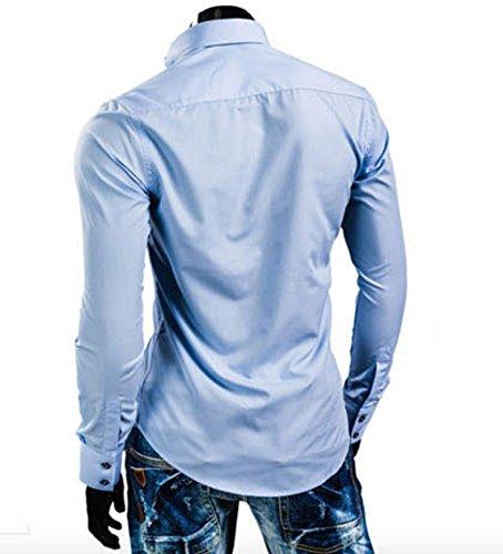 Herren Stylisch Vierecksknöpfe Langarm Hemden Freizeithemd Kontrastfarbe Hellblau