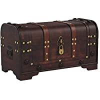 Brynnberg Wooden Pirate Treasure Chest 40x20x22cm decorative storage box - Vintage decoration handmade - with padlock lockable with key