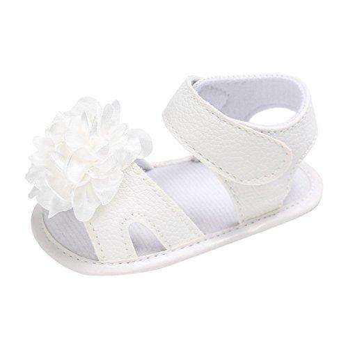 MiyaSudy Chaussures Enfant Bébés Ffilles Princesse PU Cuir Fleur Sandales Pour 0-18 Mois Blanc