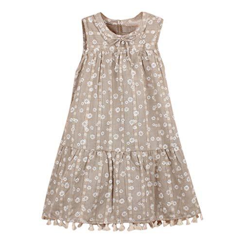 (SANFASHION Kleine Mädchen Sommer Blumen Kleid Baby Ärmellos Blumenmuster Boho Party Pageant Sommerkleider Strandkleider)