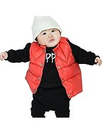 Iceybaby Chalecos para bebés Tops chaleco recién nacido de la muchacha para el oto?o del muchacho y la chaqueta del chaleco del invierno embroma negro 0-3-6-9-12-18 meses