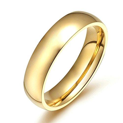 AmDxD Schmuck Damen Ringe 4MM Edelstahl (mit Gratis Gravur) Hoch Poliert Ehering Gold Größe 52 (16.6) (Brettspiel Paar Kostüme)