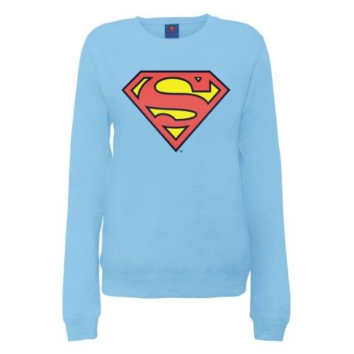 DC Comics Official Superman Shield Womens Sweatshirt, Felpa Donna blu (Sky Blue)