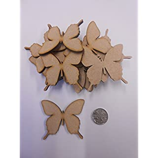 40mm Ornate Butterfly Embellishments - Blank Wooden MDF Shapes for Crafts - Pack of 25