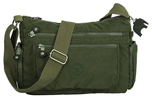 Big Handbag Shop - Borsa a tracolla unisex (Verde militare)