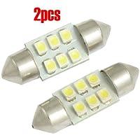SODIAL(R) 2 pezzi 31 millimetri 3528 SMD luce di mappa 6 LED bianca della cupola (Bianco Festone)