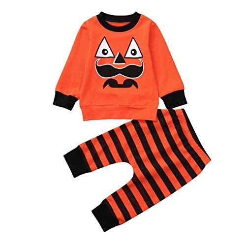 Clearance!Baby Jungen Mädchen Halloween Kürbis Kleidung Outfits Mingfa Kleinkind Cartoon gestreift Print T-Shirt Tops + Hose Set, Kinder, Orange, (24M) UK (Kleinkinder Für Uk Halloween-outfits)