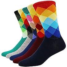 SZSMART Calcetines Estampados Hombre Algodón Fino Cómodo Transpirable, Calcetines de Colores de Casual Moda Mujer