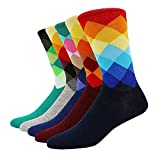 SZSMART Herrensocken, Baumwollsocken Herren Socken Businesssocken Anzugssocken Mehrfarbig Gestreift, Modisch Bunt Damen socken UE39-42