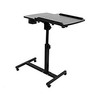 ALEKO LC01BK Adjustable Two Tier Computer Standing Desk Ergonomic Office Workstation 24 x 16 x 25 Inches Black