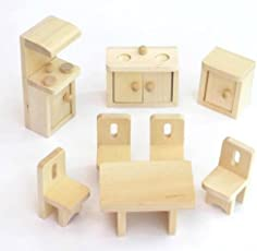 Lakshya Wooden Lounge Bathroom Kitchen Dollhouse Furniture Set (Wooden Textured)