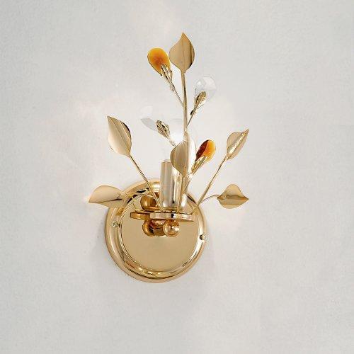 Applique Da Parete A 1 Luce In Metallo Oro E Gocce In Vetro Colorate - Collezione Dana -Illuminazione Interni.
